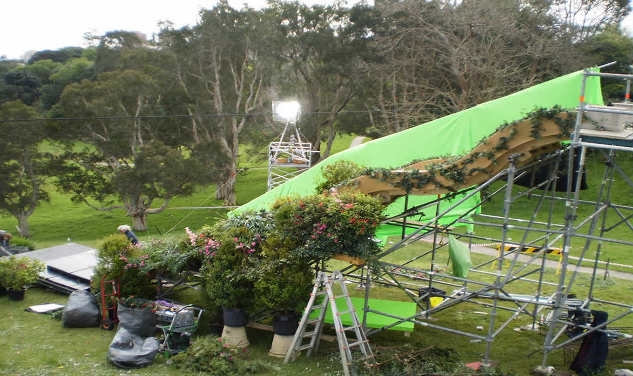 Blossom Hill TVC with scaffold support, green screen and slide.