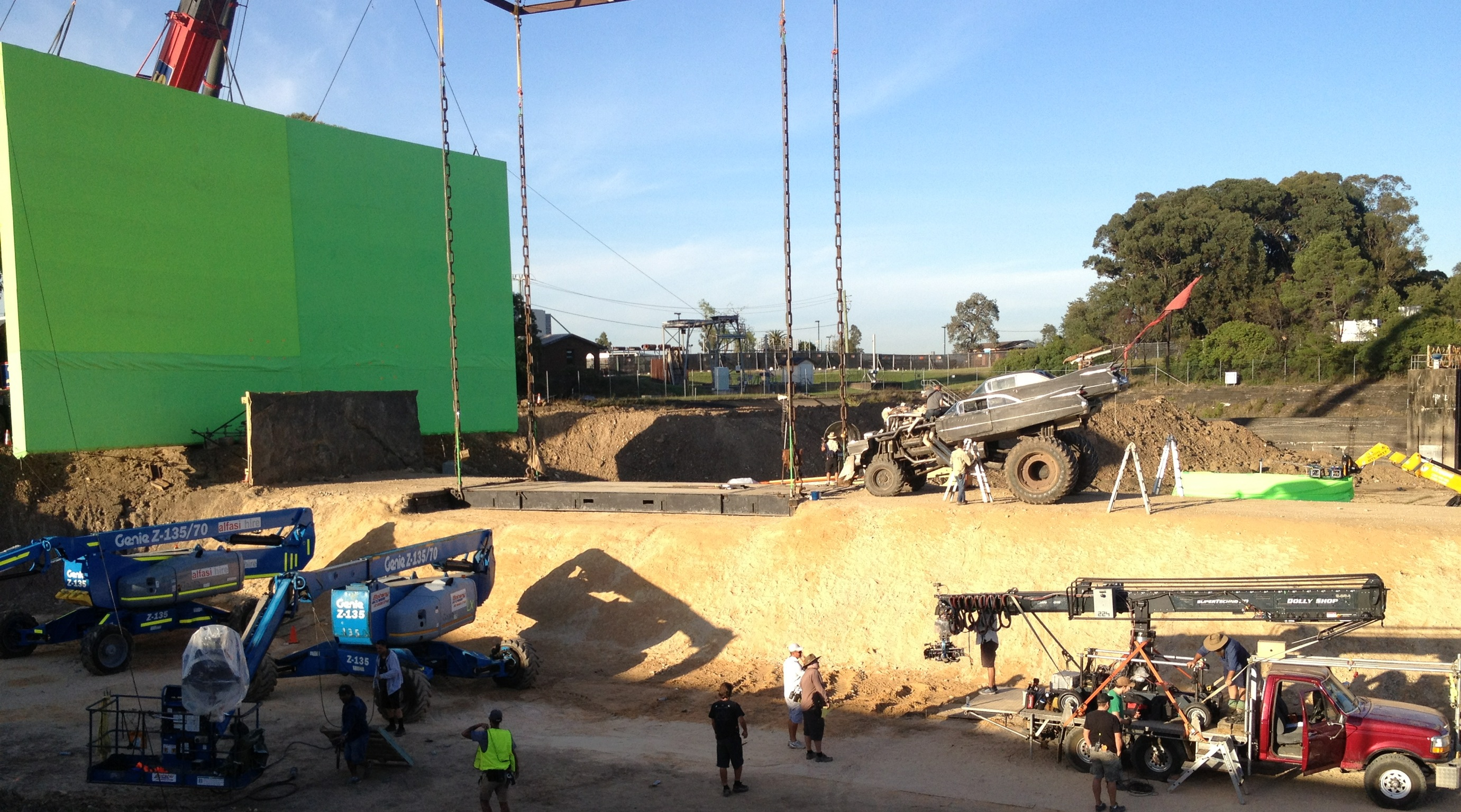 2 of 40' x 40' Green Screens hard backed and flown by cranes.