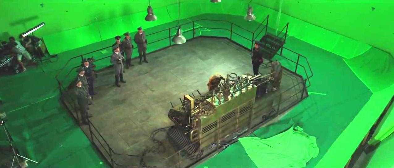 Green Screens used as cyc for Iron Sky at Village Roadshow Studios