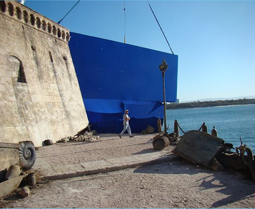 Castle Wall and Floating Blue Screens for Narnia Voyage of the Dawn Treader