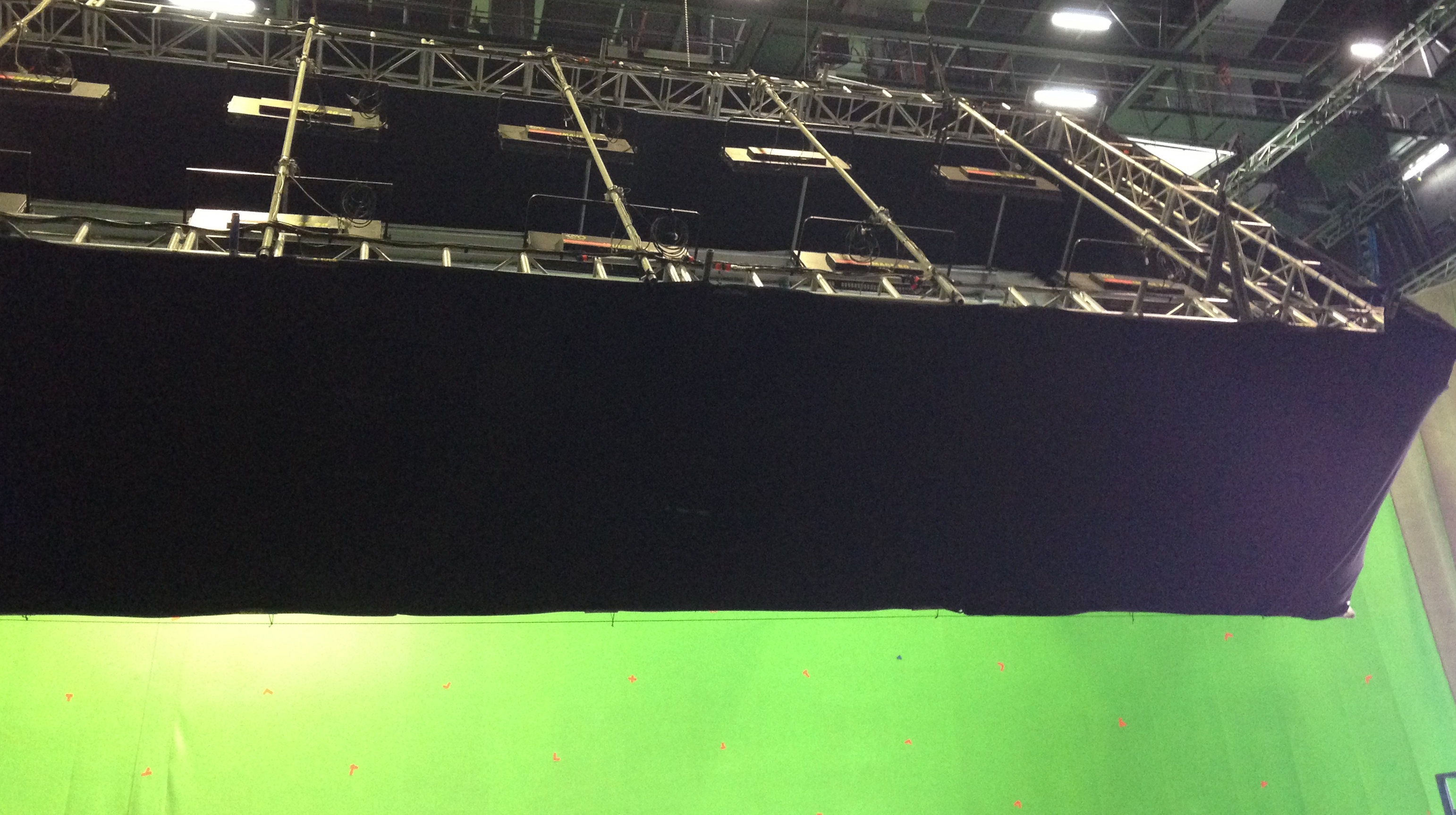 Retractable 130' x 30' Green Screen with light box, used on San Andreas